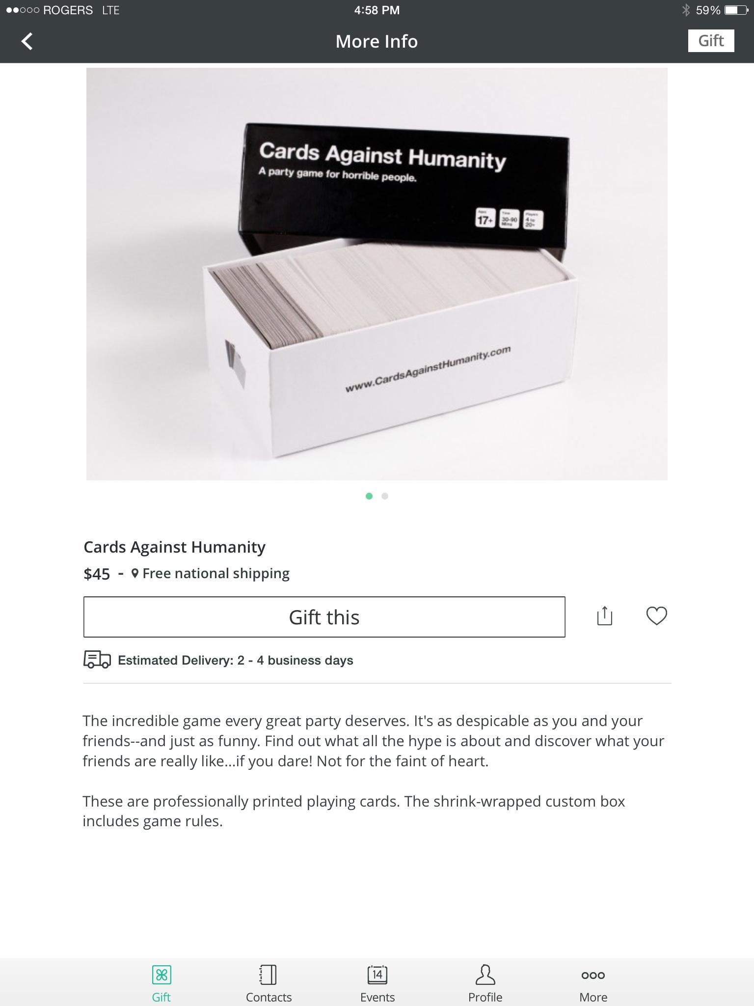 Giftagram Cards Against Humanity